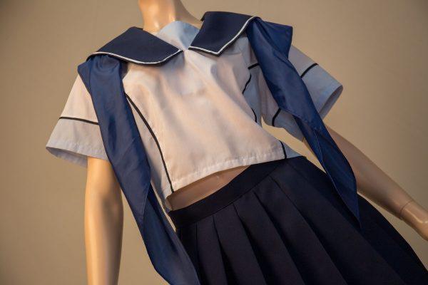ラブプラス コスプレ衣装 十羽野高校女子制服 夏服 半袖 セーラーカラー 角襟